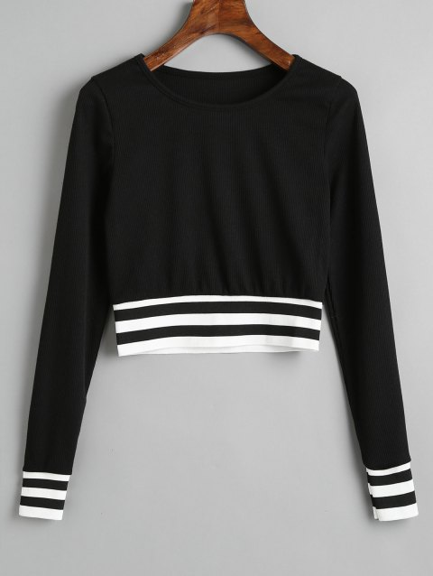Stripes Panel Ribbed Cropped Sweatshirt - BLACK XL