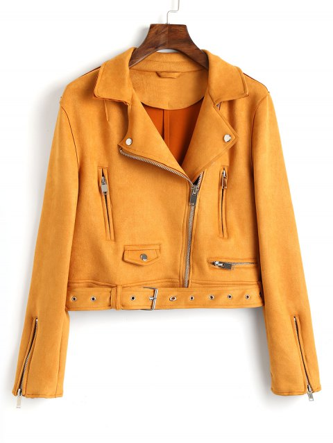 Faux Suede Zip Up Belted Jacket - MUSTARD L