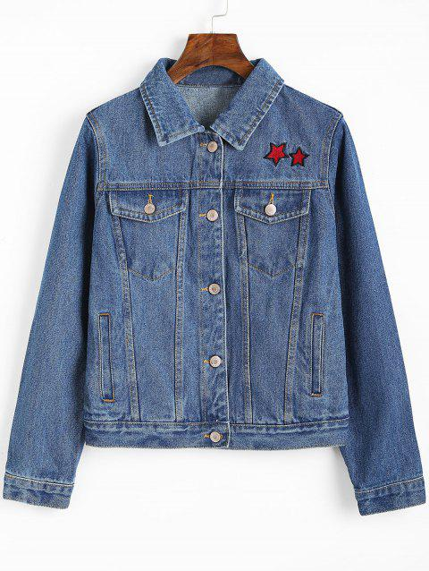 Denim Button Up Star Embroidered Jacket - DENIM BLUE M
