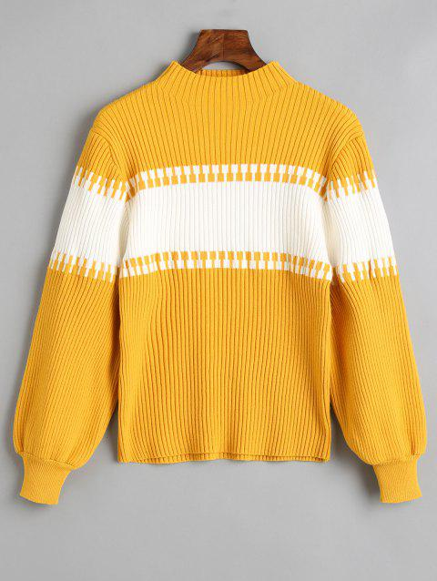 Mock Neck Two Tone Ribbed Sweater - MUSTARD