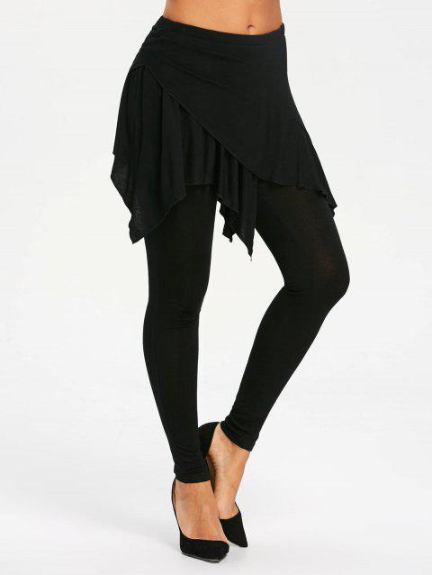 High Waist Handkerchief Skirted Leggings - BLACK S
