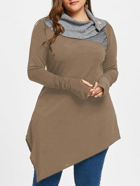 Plus Size Thumb Hole Asymmetric Tunic Top - LIGHT BROWN MAPLE XL