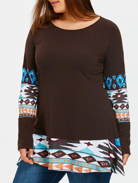 Aztec Printed Panel Plus Size Tunic T-shirt - DARK COFFEE 2XL