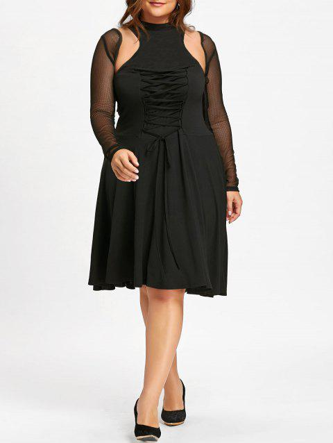 Plus Size Lace Up Cutout Gothic Dress - BLACK 4XL