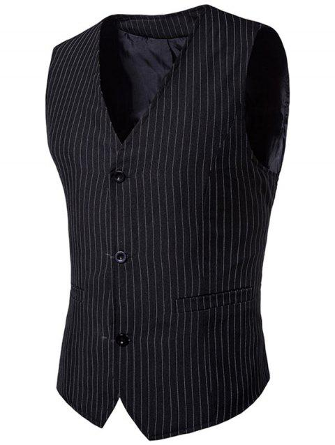 Single Breasted V Neck Vertical Stripes Waistcoat - BLACK M
