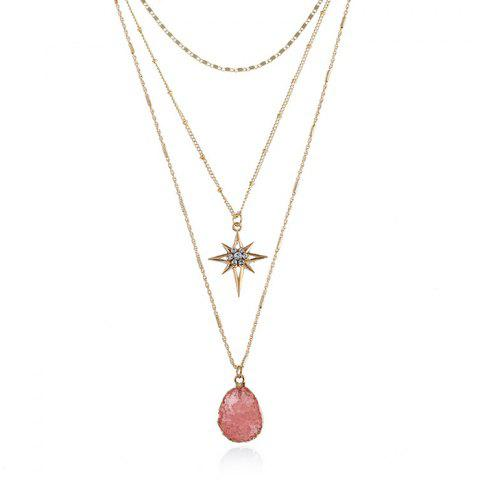 Natural Stone Star Geometric Layered Necklace - PINK