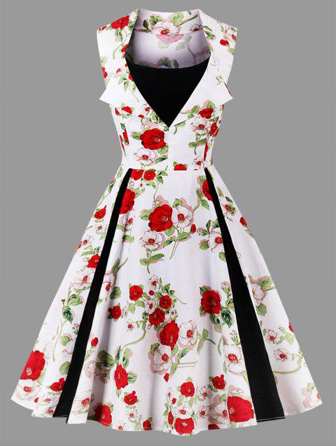 Vintage Floral Print Sleeveless Plus Size Dress - WHITE 2XL