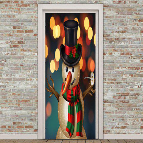 Starlight Christmas Snowman Pattern Removable Door Stickers - COLORFUL 38.5*200CM*2PCS