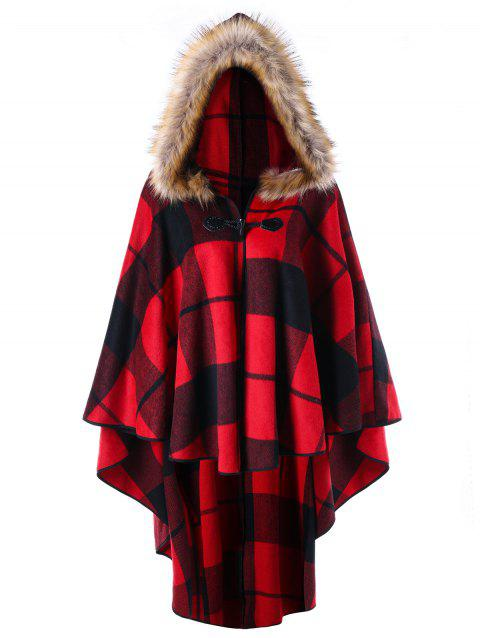 Cape Haute-Basse à Capuche à Carreaux Grande Taille - RED PLAID 4XL