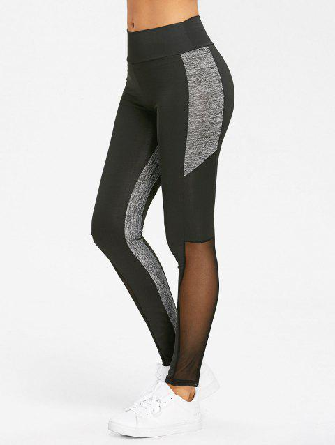 High Waist Heather Mesh Panel Yoga Leggings - BLACK S