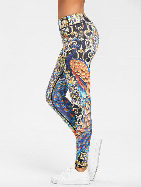 Peacock Feather Print Leggings - FLORAL S