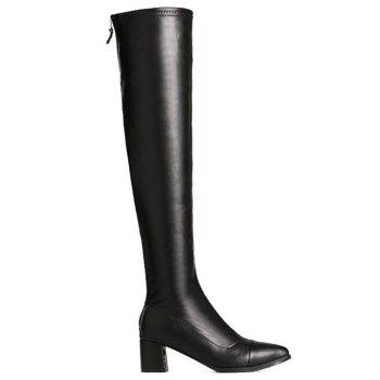 Block Heel Artificial Leather Over the Knee Boots - BLACK 38