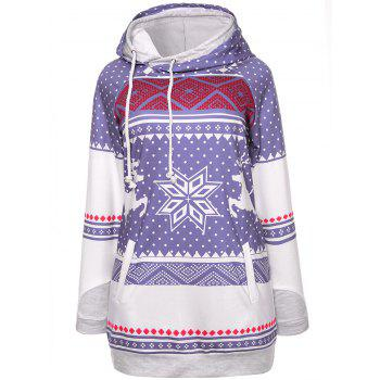 Snowflake Elk Christmas Hoodie - LIGHT PURPLE LIGHT PURPLE