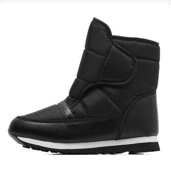 Round Toe Faux Fur Lined Ankle Boots - BLACK 41