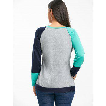 Raglan Long Sleeve Color Block Top - GREEN L