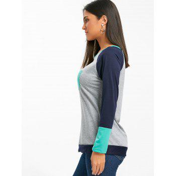 Raglan Long Sleeve Color Block Top - GREEN S