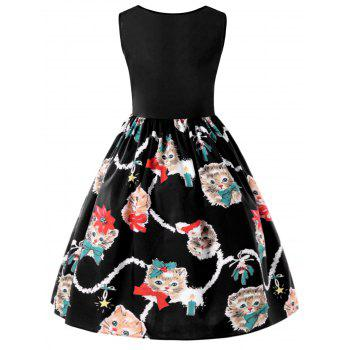 Kitten Print Sleeveless Fit and Flare Dress - BLACK M