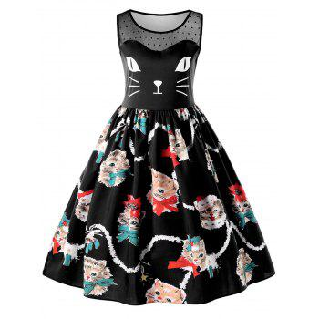Kitten Print Sleeveless Fit and Flare Dress - BLACK BLACK