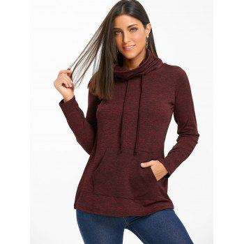 Cowl Neck Heathered Drawstring Sweatshirt - BURGUNDY XL