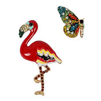False Diamond Butterfly and Flamingo Brooches - RED RED