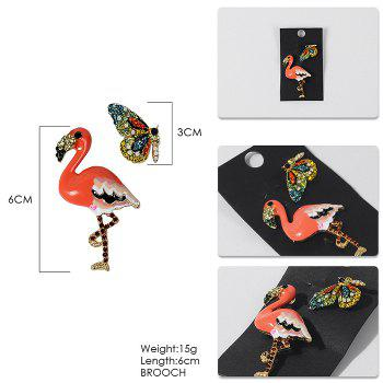 False Diamond Butterfly and Flamingo Brooches - ORANGE
