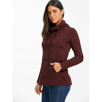 Cowl Neck Heathered Drawstring Sweatshirt - BURGUNDY L