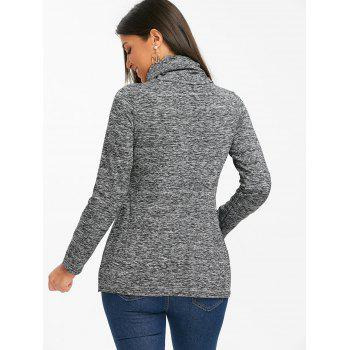 Cowl Neck Heathered Drawstring Sweatshirt - BLACK XL