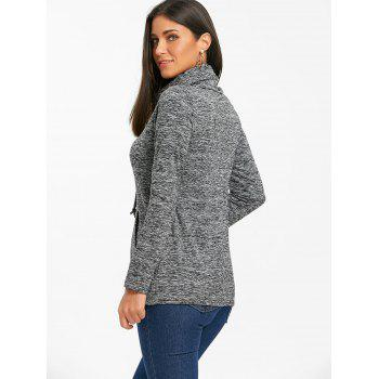 Cowl Neck Heathered Drawstring Sweatshirt - BLACK BLACK