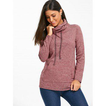Cowl Neck Heathered Drawstring Sweatshirt - CLARET CLARET