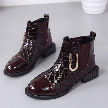 Elastic Band Metallic Embossing Short Boots - WINE RED 37