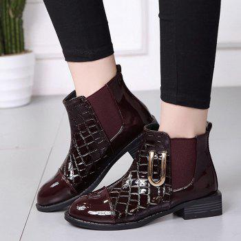 Elastic Band Metallic Embossing Short Boots - WINE RED 38