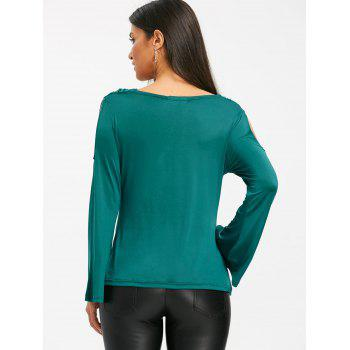 Bell Sleeve Cowl Neck Cold Shoudler T-shirt - GREEN L