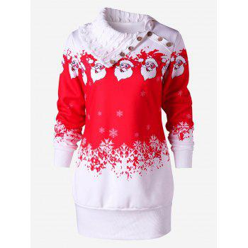 Santa Claus Printed Fleece Tunic Sweatshirt Dress