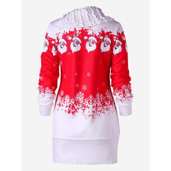 Santa Claus Printed Fleece Tunic Sweatshirt Dress - RED L