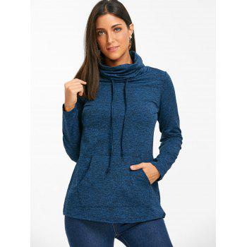 Cowl Neck Heathered Drawstring Sweatshirt - BLUE XL