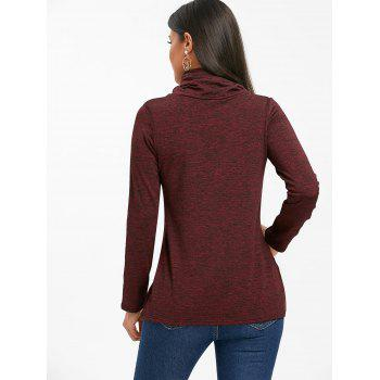Cowl Neck Heathered Drawstring Sweatshirt - BURGUNDY BURGUNDY