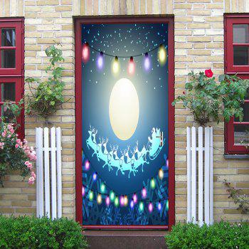 Christmas Moon String Lights Pattern Door Stickers - COLORMIX 38.5*200CM*2PCS