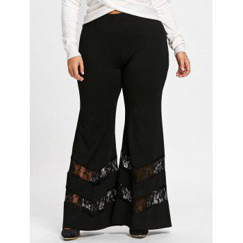 Plus Size Lace Trim Flare Pants - BLACK BLACK