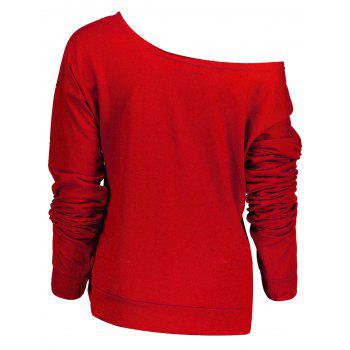 Stylish Letter and Snowflake Print Pullover Christmas Sweatshirt For Women - RED RED