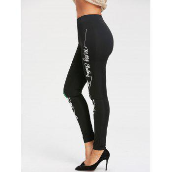 Wear Glasses Cat Printed Workout Leggings - BLACK BLACK