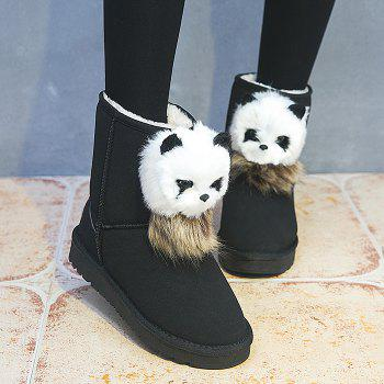Faux Fur Bear Pendant Slip On Snow Boots - BLACK 36