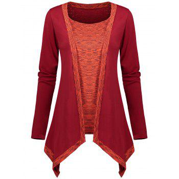 Faux Two Piece Long Sleeve Asymmetric Top - RED RED