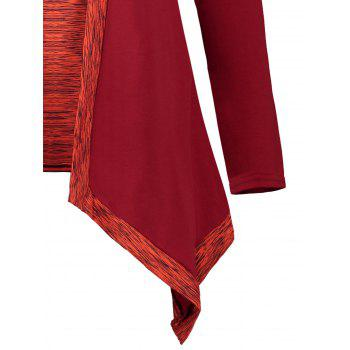 Faux Two Piece Long Sleeve Asymmetric Top - RED XL