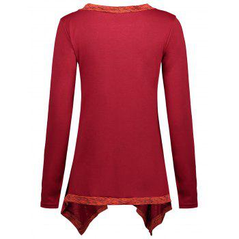 Faux Two Piece Long Sleeve Asymmetric Top - RED 2XL