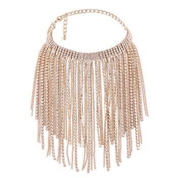Faux Crystal Multilayer Long Tassel Chokers Necklace - GOLDEN GOLDEN