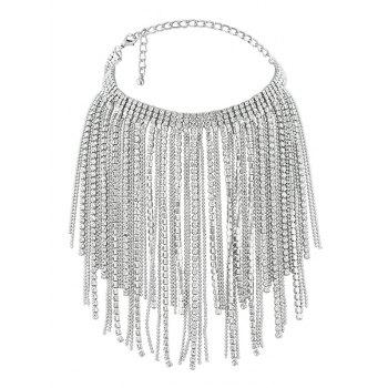 Faux Crystal Multilayer Long Tassel Chokers Necklace - SILVER SILVER