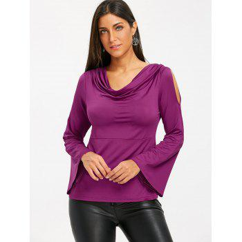Bell Sleeve Cowl Neck Cold Shoudler T-shirt - PURPLISH RED M