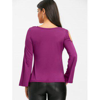 Bell Sleeve Cowl Neck Cold Shoudler T-shirt - PURPLISH RED L