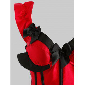Feather Hem Plus Size Christmas Lace-up Corset - RED XL