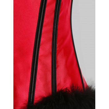 Feather Hem Plus Size Christmas Lace-up Corset - RED 2XL